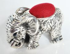 STAMPED STERLING SILVER PIN CUSHION IN THE FORM OF AN ELEPHANT.