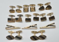 GROUP OF GOLD ON SILVER CUFFLINKS AND TIE CLIPS