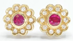 PAIR OF 18CT GOLD RUBY & DIAMOND CLUSTER EARRINGS