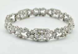 FRENCH ANTIQUE 18CT WHITE GOLD PLATINUM & DIAMOND BRACELET