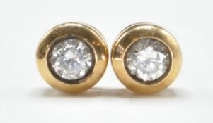 PAIR OF 9CT GOLD AND DIAMOND EARRINGS