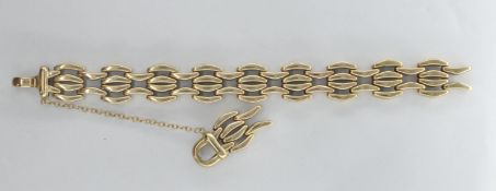 9CT GOLD LADIES GATE LINK BRACELET