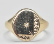 9CT GOLD SIGNET RING SET WITH DIAMOND