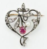 ANTIQUE RUBY DIAMOND & PEARL BROOCH CLIP