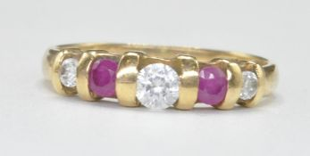 18CT GOLD PINK AND WHITE STONE RING