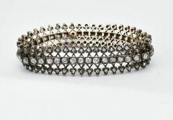 ANTIQUE 18CT GOLD SILVER AND DIAMOND 5CT BRACELET