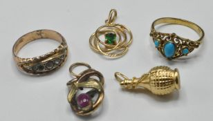 GROUP OF GOLD AND YELLOW METAL JEWELLERY