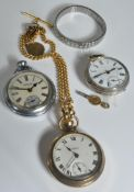800 SILVER OPEN FACED POCKET WATCH & OTHERS