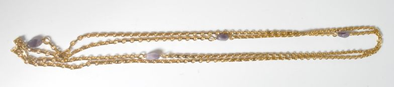 YELLOW METAL AND GLASS LONG GUARD CHAIN NECKLACE