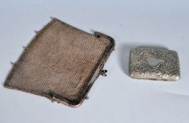 HALLMARKED STERLING SILVER CIGARETTE CASE TOGETHER WITH A WHITE MESH PURSE
