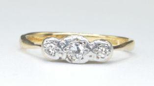 9CT GOLD AND DIAMOND THREE STONE HALLMARKED RING
