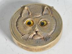 VINTAGE STYLE BRASS VESTA CASE IN THE MANNER OF LOUIS WAIN.