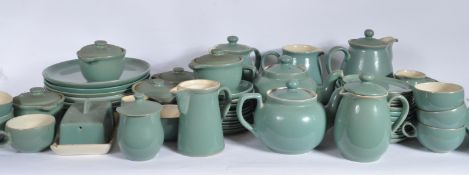 LARGE DENBY STONEWARE GREEN AND WHITE DINNER SERVICE