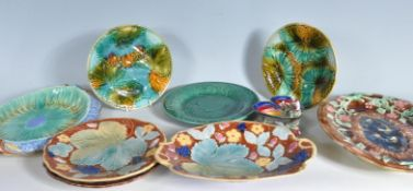 COLLECTION OF VICTORIAN ENGLISH MAJOLICA PLATESA ND DISHES.