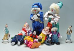 LARGE COLLECTION OF CLOWN FIGURINES WITH PORCELAIN FACES