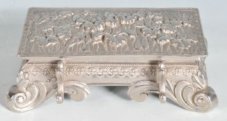 CHINESE ORIENTAL WHITE METAL DESK INKWELL