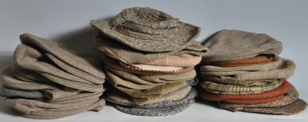 COLLECTION OF VINTAGE MENS HARRIS TWEED FLAT CAP HATS.