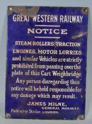 GREAT WESTERN RAILWAY PADDINGTON STATION LONDON NOTICE ENAMEL SIGN