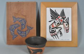 THREE NATIVE CANADIAN HAIDA DECORATED ITEMS