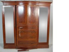 LATE 19TH CENTURY EARLY 20TH CENTURY MAHOGANY SATINWOOD TRIPLE WARDROBE