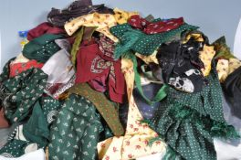 LARGE COLLECTION OF VINTAGE MENS SCARVES CRAVATS AND TIES.