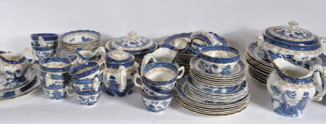REAL OLD WILLOW BLUE AND WHITE DINNER SERVICE