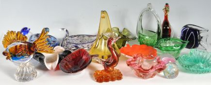 LARGE COLLECTION OF STUDIO ART GLASS WARE