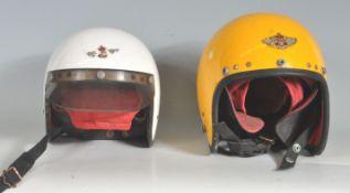 TWO 1960'S RETRO VINTAGE MOTORCYCLE HELMETS BY BOWBILT BRAND
