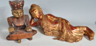 TWO 20TH CENTURY WOODEN MANTEL PIECE FIGURINES