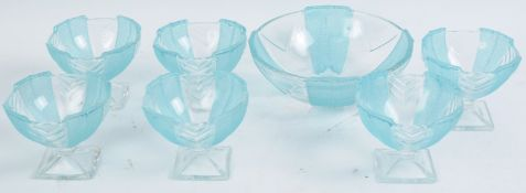 ART DECO PRESSED GLASS SUNDAE BOWLS
