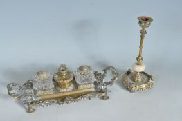 ROCOCO STYLE BRASS AND CUT GLASS INKWELL
