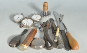 COLLECTION OF THREE POCKET WATCHES AND MISCELLANEOUS ITEMS.
