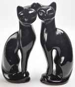 PAIR OF VINTAGE RETRO STYLISED BLACK CAT FIGURINES