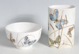 ROYAL COPENHAGEN BUTTERFLY LIMITED EDITION BOWL AND VASE
