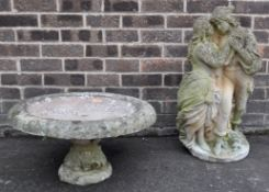 ANTIQUE STYLE HARDEN STATUE AND BIRD BATH