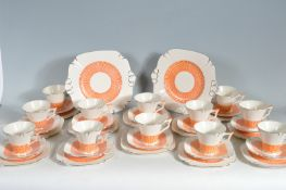 "ART DECO STYLE 12 PERSONS TEA SET BY TAMS WARE "" GLENGARRY """