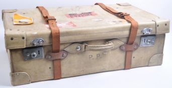 VINTAGE 1950S / 60S LARGE VELLUM TRAVEL SHIPPING SUITCASE
