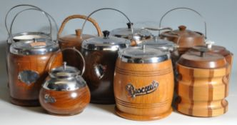COLLECTION OF VINTAGE RETRO 20TH CENTURY WOODEN BISCUIT BARRELS
