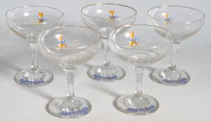 FIVE VINTAGE RETRO 20TH CENTURY BABYCHAM GLASSES