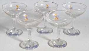 FIVE VINTAGE RETRO 20TH CENTURY BABYCHAM GLASSES
