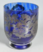 LATE 20TH CENTURY HALLMARKED SILVER AND BLUE GLASS VASE