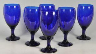 SIX BRISTOL BLUE STYLE WINE GLASSES