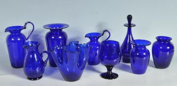 COLLECTION OF VINTAGE BRISTOL BLUE GLASS