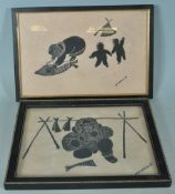PAIR OF AGNES NANOGAK NATIVE CANADIAN INUIT BLOCK PRINTS