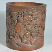 20TH CENTURY CHINESE ORIENTAL CARVED BAMBOO BRUSH POT