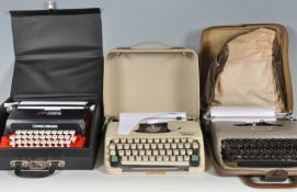 THREE VINTAGE RETRO 20TH CENTURY TYPEWRITERS