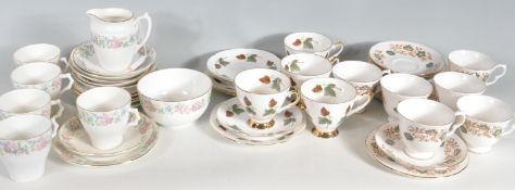 THEE VINTAGE RETRO 20TH CENTURY BONE CHINA PART TEA SETS
