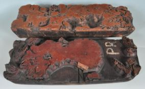 TWO EARLY 20TH CENTURY WOODEN PRINTING BLOCKS