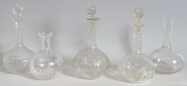 FIVE 18TH CENTURY/ 19TH CENTURY GEORGIAN DECANTERS