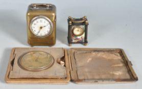 THREE VINTAGE TRAVELING CLOCKS